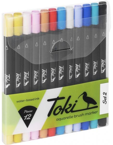 Toki Aquarelle Brush Marker Set 2 12 markers